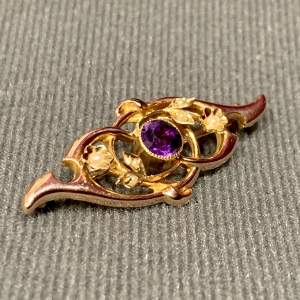 15ct Gold Amethyst and Seed Pearl Brooch