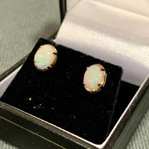 Vintage Gold Opal Earrings