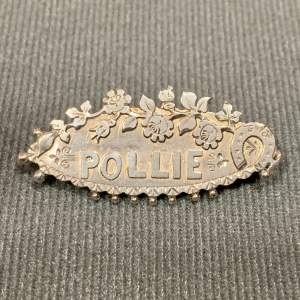 Victorian Silver Name Brooch - Pollie