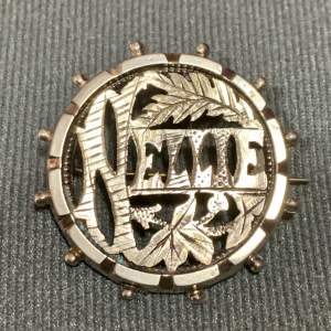 Victorian Silver Name Brooch - Nellie