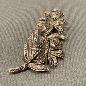 Silver Marcasite Brooch with Double Flower