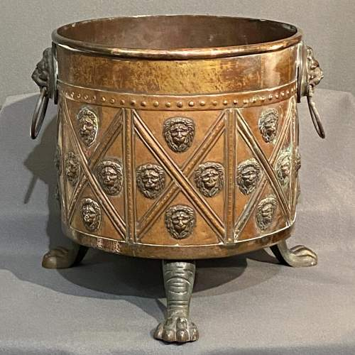 Georgian Brass And Copper Log Bin image-1