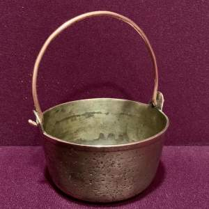 Small Brass Jam Pan with Copper Handle