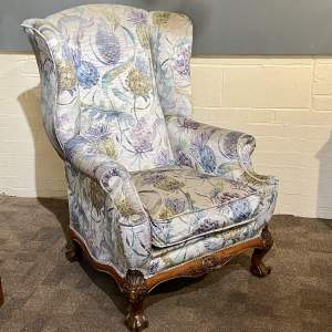Queen Anne Style Upholstered Wing Armchair