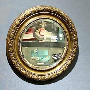 Brass Framed Circular Bevelled Wall Mirror