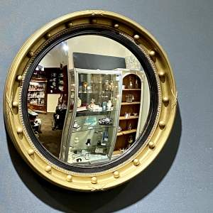 Large Vintage Convex Fish Eye Wall Mirror