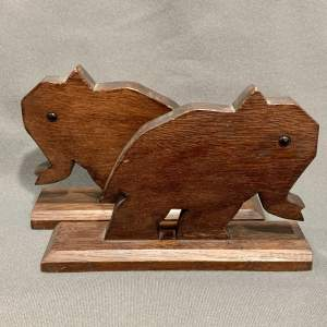 Pair of Early 20th Century Oak Elephant Bookends