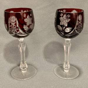 Pair of Ruby Cut Glass Wine Goblets