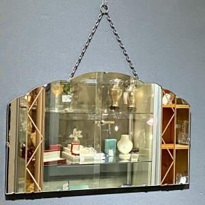 Art Deco Frameless Peach Glass Wall Mirror