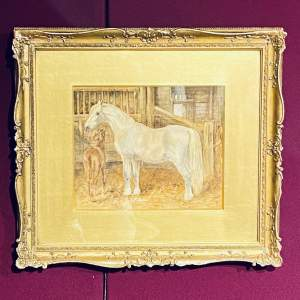 Lovely Watercolour Painting of a Horse and Foal
