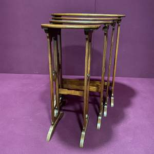 Edwardian Quartetto Nest of Four Inlaid Mahogany Tables