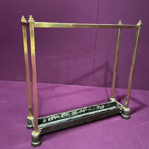 Art Deco Brass and Cast Iron Stick Stand image-1