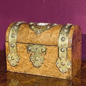 Victorian Burr Walnut And Brass Bound Box
