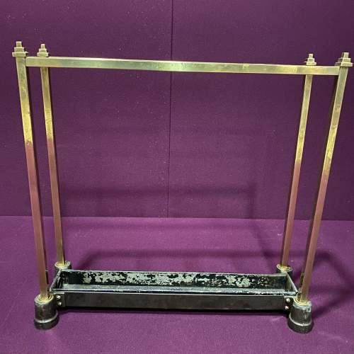 Art Deco Brass and Cast Iron Stick Stand image-3