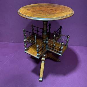 Aesthetic Movement Walnut Rotating Tripod Bookcase Table
