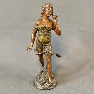 L. Guilleman Girl Listening to La Mer Cold painted Spelter Figure