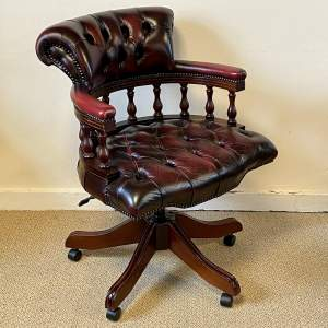 Vintage Oxblood Red Leather Captains Chair