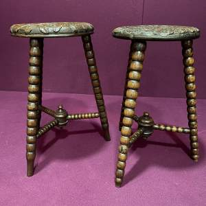 Two 19th Century Stools with Bobbin Turned Legs