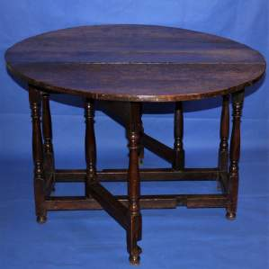 18th Century D Ended English Oak Drop Leaf Gate Leg Table