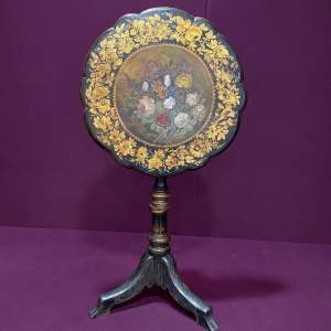 Beautiful Victorian Ebonised Tripod Table with Hand Painted Decoration