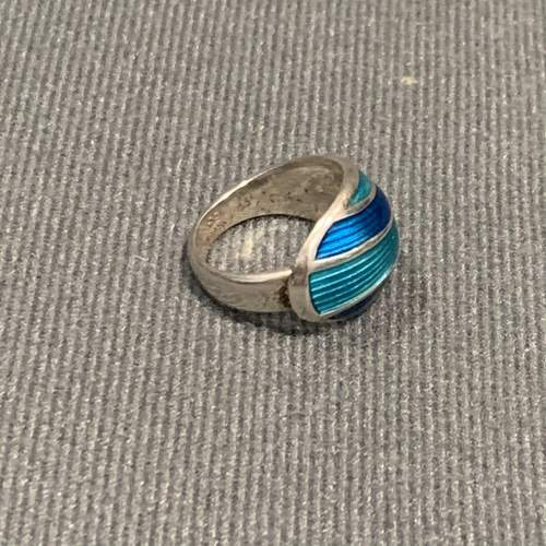Modernist Silver and Turquoise Blue Banded Enamel Ring image-2