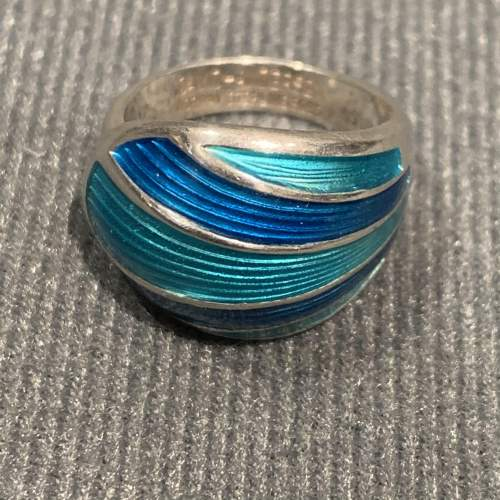 Modernist Silver and Turquoise Blue Banded Enamel Ring image-4