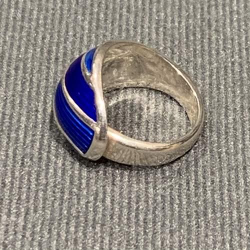 Modernist Silver and Blue Banded Enamel Ring image-2