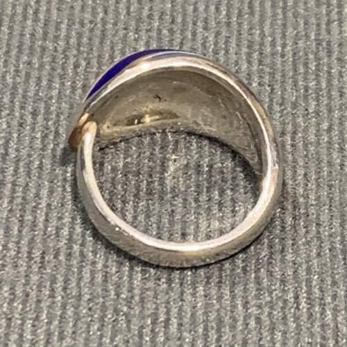 Modernist Silver and Blue Banded Enamel Ring image-3