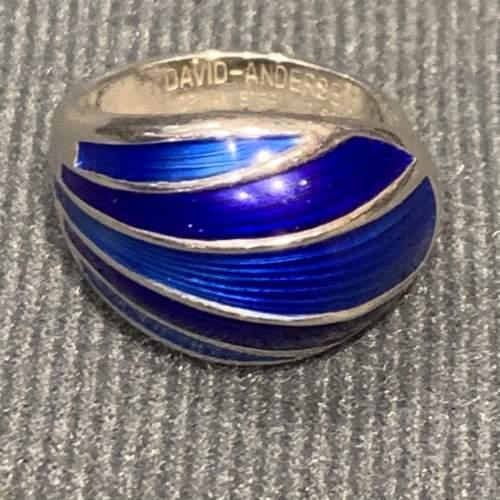 Modernist Silver and Blue Banded Enamel Ring image-4