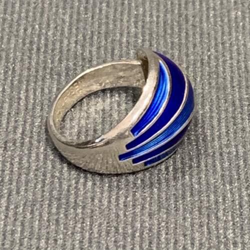 Modernist Silver and Blue Banded Enamel Ring image-1