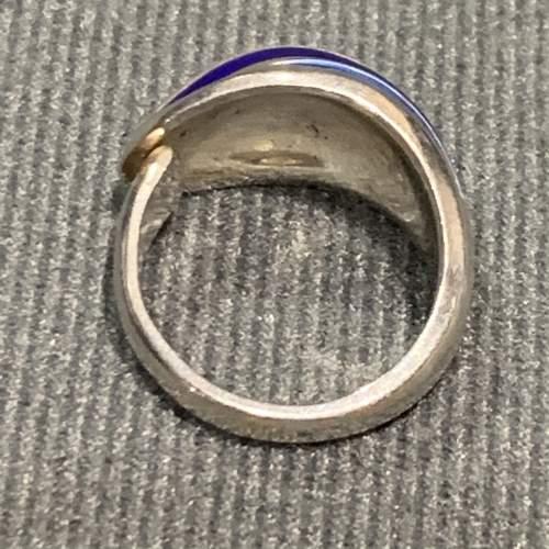 Modernist Silver and Blue Banded Enamel Ring image-5