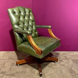 20th Century Green Leather Captains Office Chair