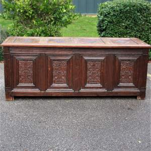 A Magnificent 17th Century Carved and Joined English Oak Coffer or Chest