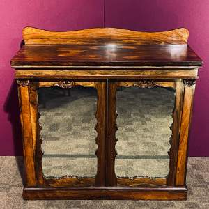 19th Century Rosewood Cabinet with Mirrored Glass Doors