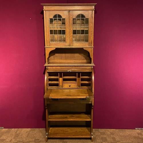 Arts and Crafts Oak Bureau Cabinet image-1