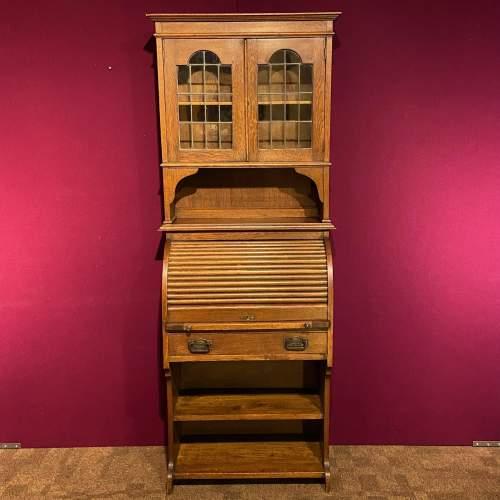Arts and Crafts Oak Bureau Cabinet image-4