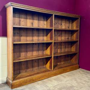 Large Victorian Oak Open Bookcase