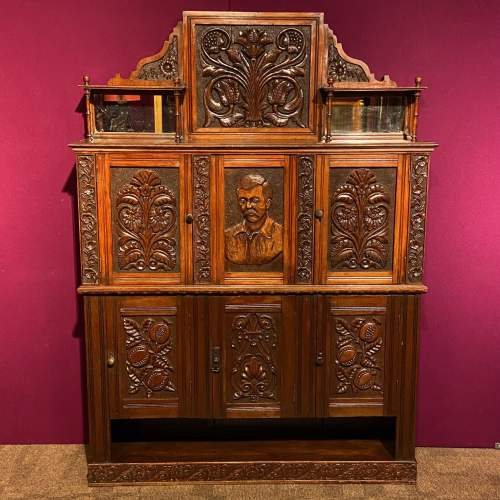 19th Century Heavily Carved Oak Cabinet image-1