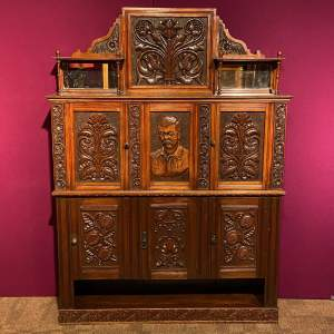 19th Century Heavily Carved Oak Cabinet