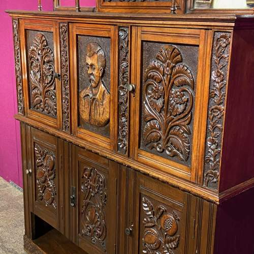 19th Century Heavily Carved Oak Cabinet image-6