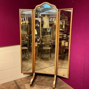 Large Three Fold Walnut Cheval Mirror