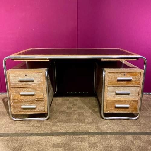 Art Deco Limed Oak and Chrome Desk image-1