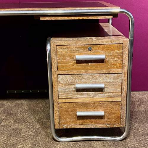Art Deco Limed Oak and Chrome Desk image-2