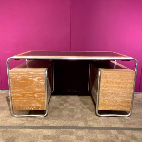 Art Deco Limed Oak and Chrome Desk image-4