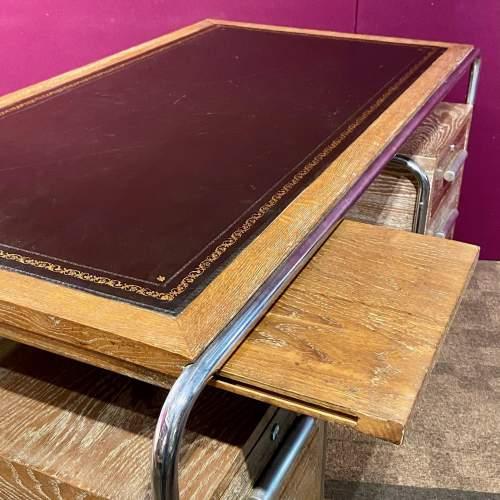 Art Deco Limed Oak and Chrome Desk image-6