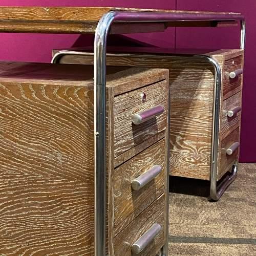 Art Deco Limed Oak and Chrome Desk image-3