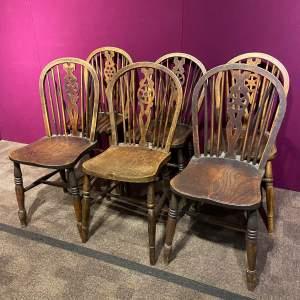 Near Set of Six Country Wheelback Chairs
