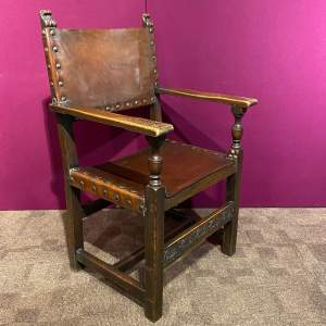 Arts and Crafts Leather and Oak Armchair