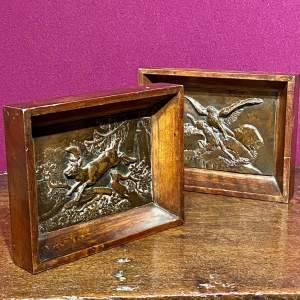 19th Century Pair of Cast Bronze Plaques in Original Oak Frames