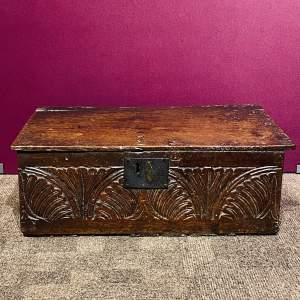 17th Century Carved Oak Bible Box